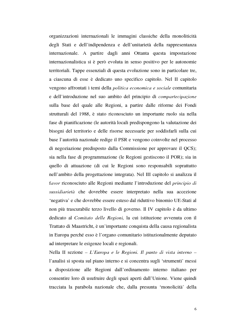 Anteprima della tesi: Il rapporto tra le Regioni e l'Unione europea, Pagina 3