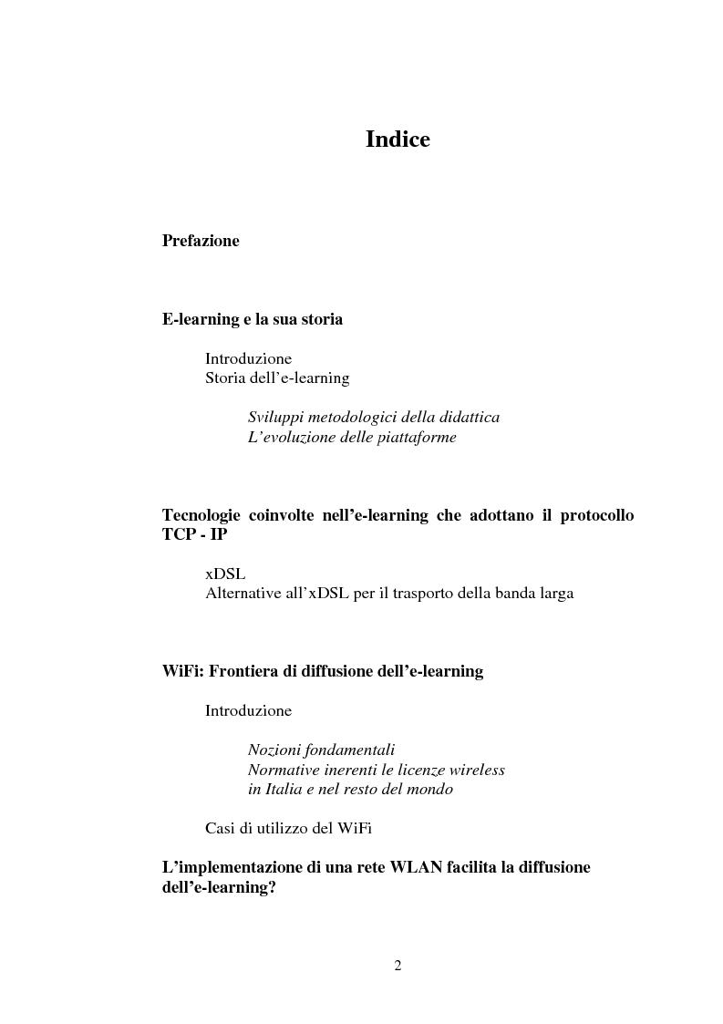 Indice della tesi: I servizi di e-learning distribuiti su reti WiFi, Pagina 1