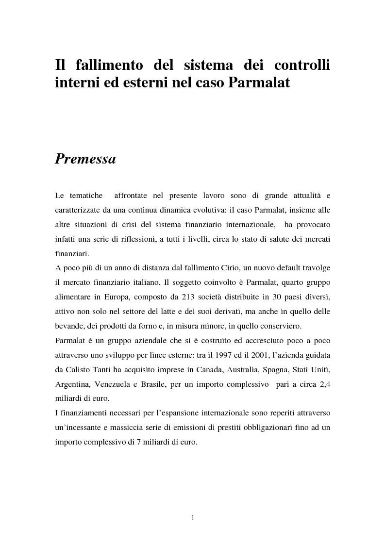 Anteprima della tesi: Il fallimento del sistema dei controlli interni ed esterni nel caso Parmalat, Pagina 1