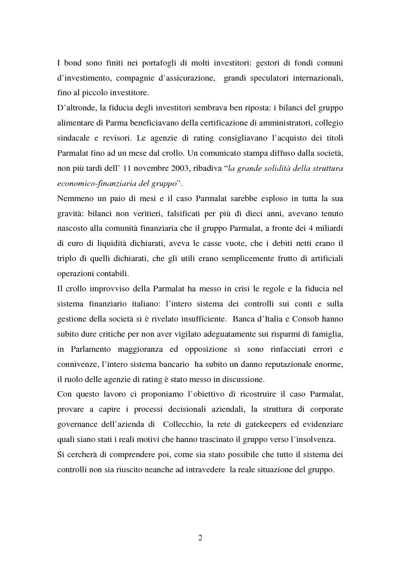 Anteprima della tesi: Il fallimento del sistema dei controlli interni ed esterni nel caso Parmalat, Pagina 2