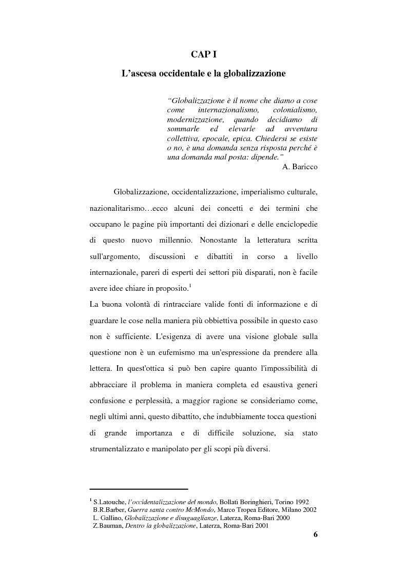 Anteprima della tesi: Globalizzazione e occidentalizzazione del mondo. Problemi e interpretazioni, Pagina 4
