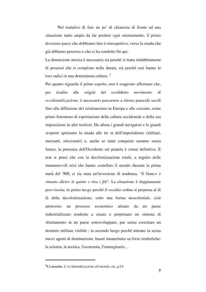 Anteprima della tesi: Globalizzazione e occidentalizzazione del mondo. Problemi e interpretazioni, Pagina 5