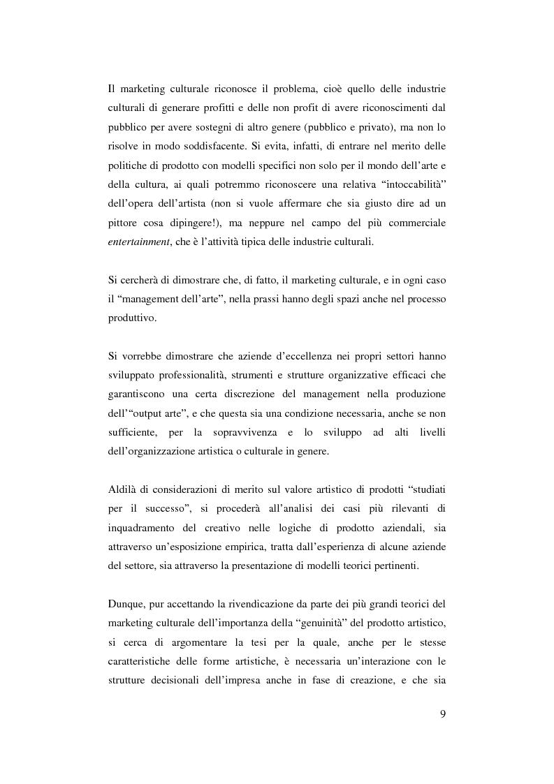 Anteprima della tesi: Il ruolo del management nello sviluppo del prodotto culturale, Pagina 6