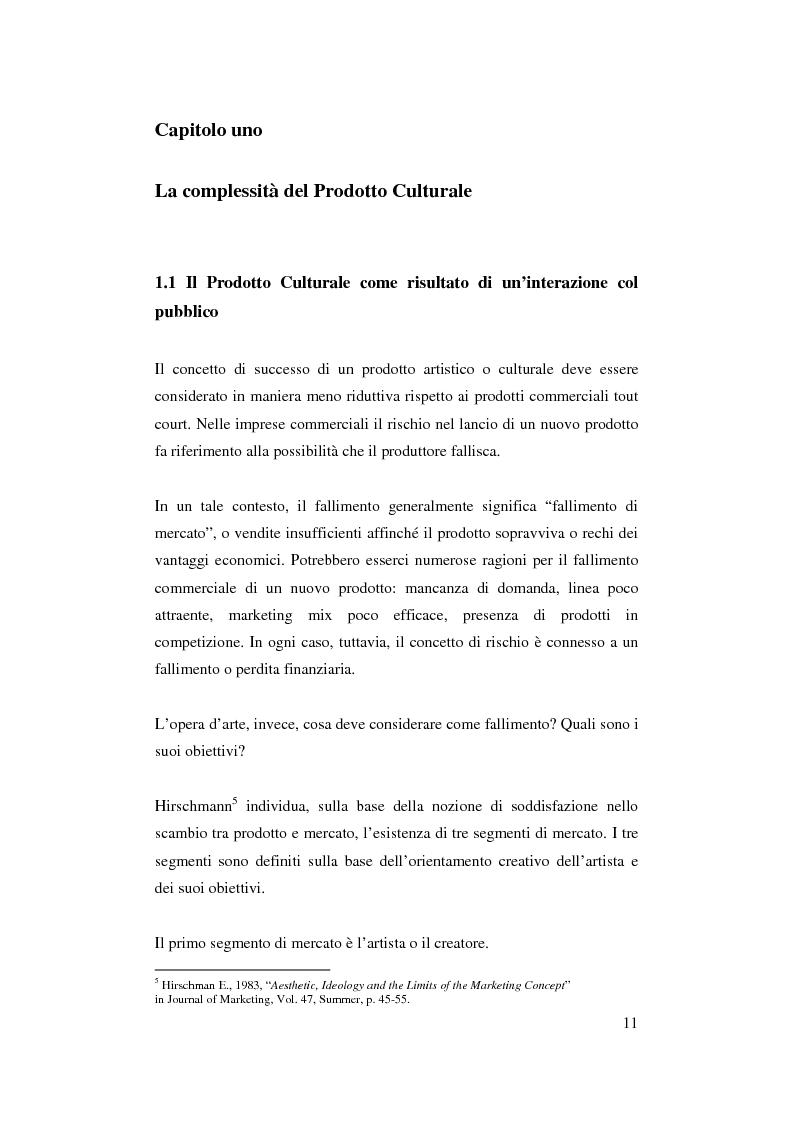 Anteprima della tesi: Il ruolo del management nello sviluppo del prodotto culturale, Pagina 8