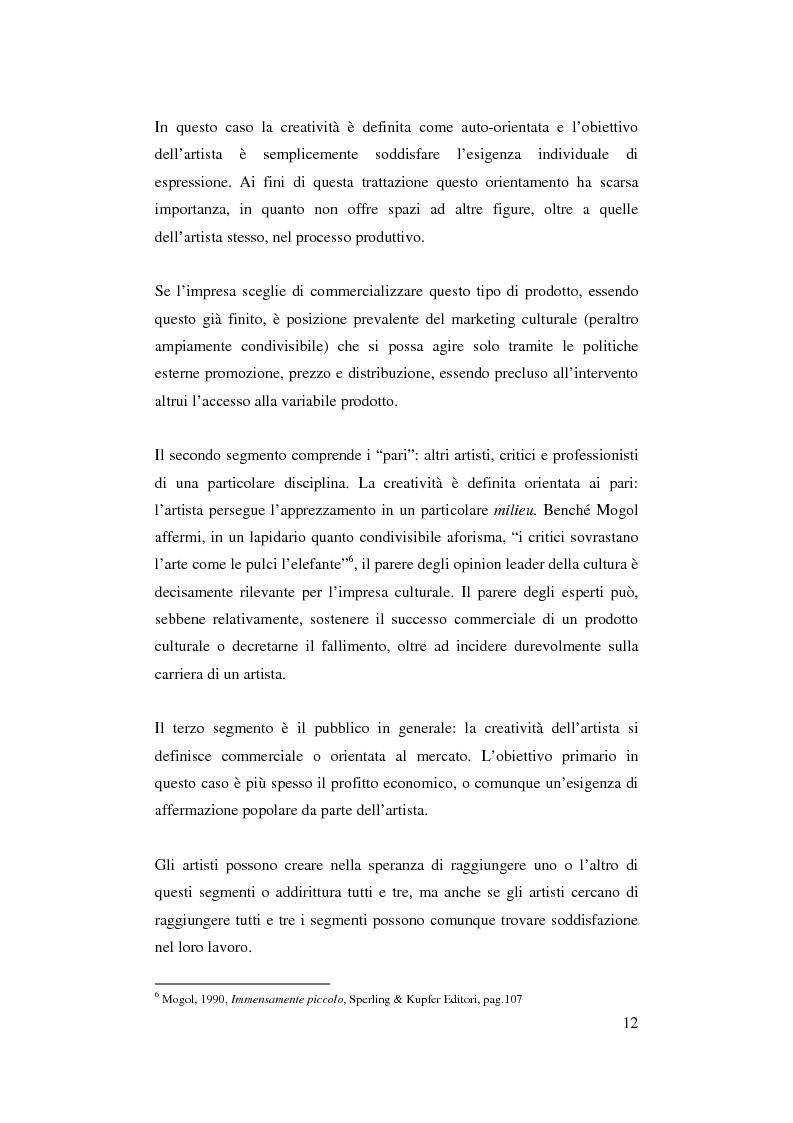 Anteprima della tesi: Il ruolo del management nello sviluppo del prodotto culturale, Pagina 9