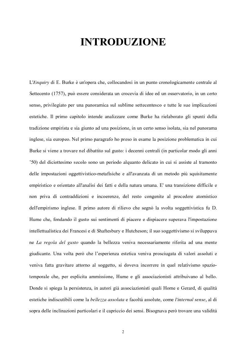 Anteprima della tesi: Burke e il sublime nella prima metà del 'Settecento inglese, Pagina 1