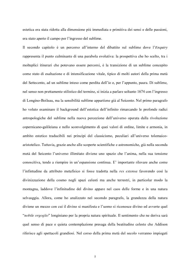 Anteprima della tesi: Burke e il sublime nella prima metà del 'Settecento inglese, Pagina 4