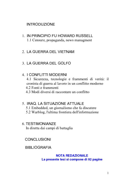 Indice della tesi: Giornalismo di guerra: tecniche, evoluzioni, analisi, Pagina 1