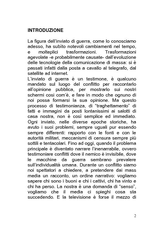 Anteprima della tesi: Giornalismo di guerra: tecniche, evoluzioni, analisi, Pagina 1
