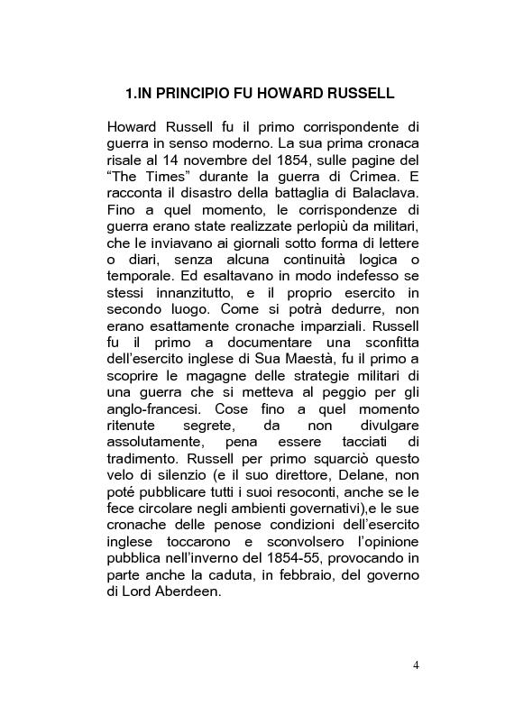Anteprima della tesi: Giornalismo di guerra: tecniche, evoluzioni, analisi, Pagina 3