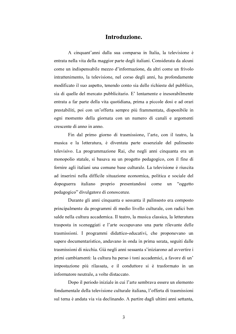 Anteprima della tesi: I programmi d'arte nella televisione pubblica italiana, Pagina 1
