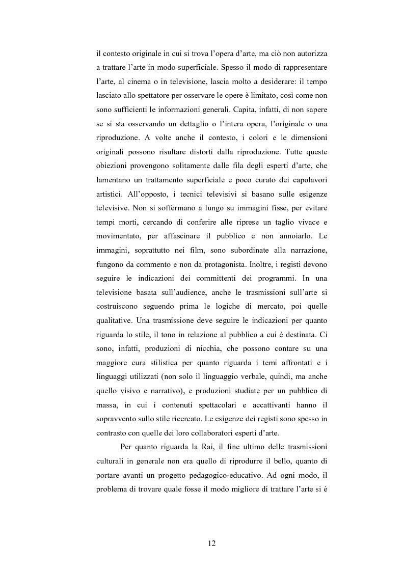 Anteprima della tesi: I programmi d'arte nella televisione pubblica italiana, Pagina 10