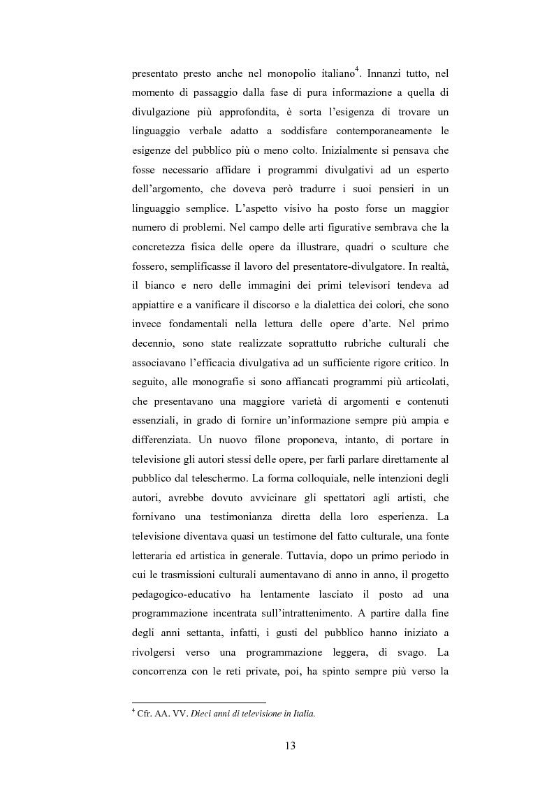 Anteprima della tesi: I programmi d'arte nella televisione pubblica italiana, Pagina 11