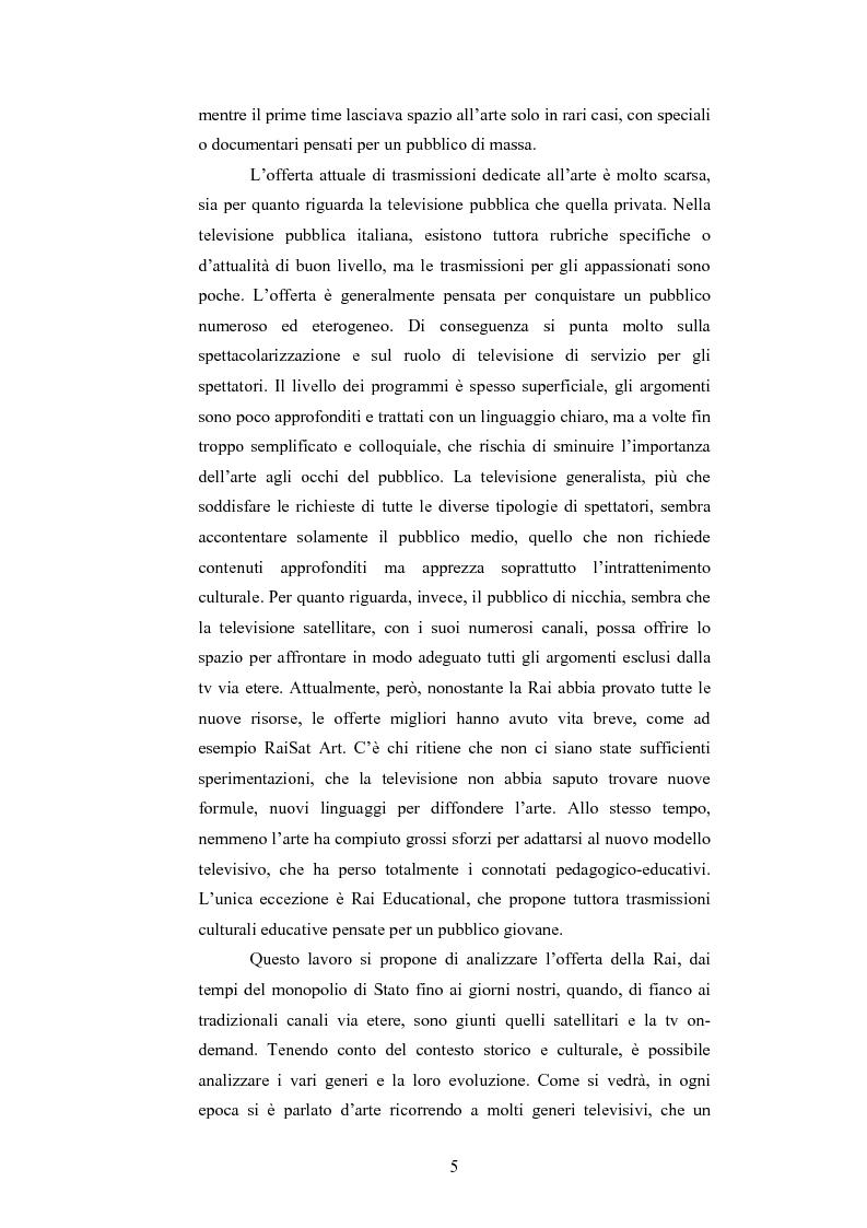 Anteprima della tesi: I programmi d'arte nella televisione pubblica italiana, Pagina 3