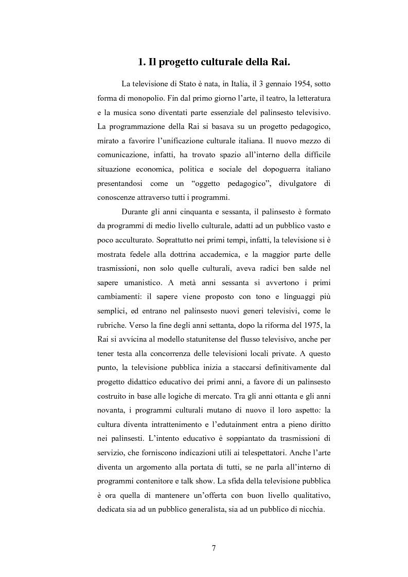 Anteprima della tesi: I programmi d'arte nella televisione pubblica italiana, Pagina 5