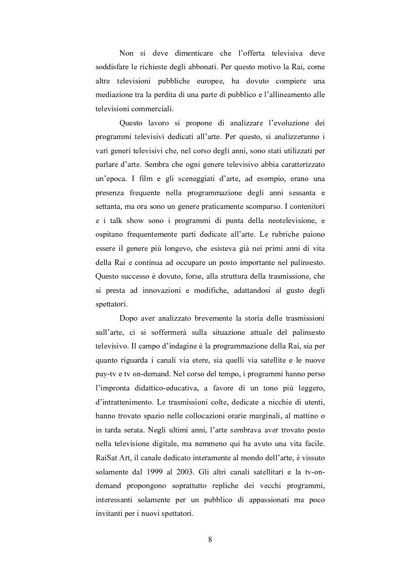 Anteprima della tesi: I programmi d'arte nella televisione pubblica italiana, Pagina 6