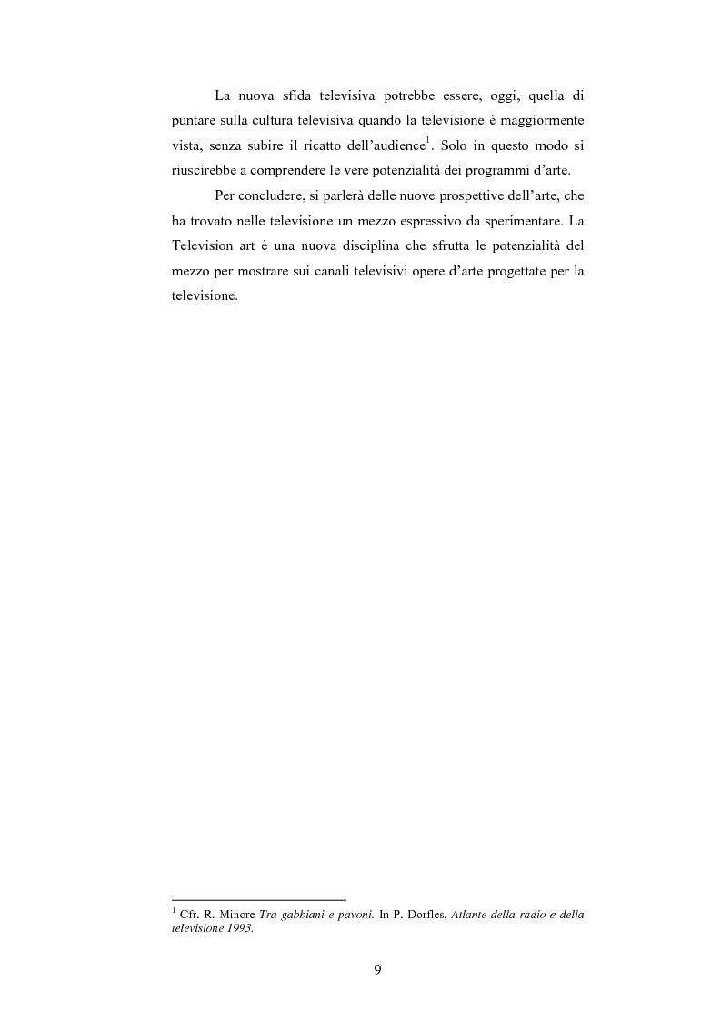 Anteprima della tesi: I programmi d'arte nella televisione pubblica italiana, Pagina 7