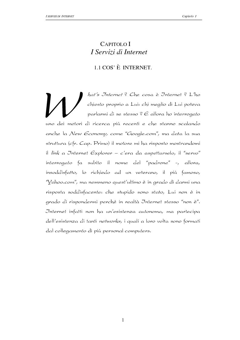 Anteprima della tesi: Responsabilità civile degli Internet providers: aspetti comparatistici, Pagina 1