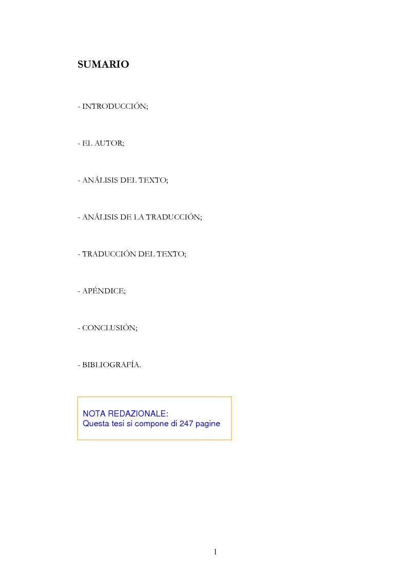 """Indice della tesi: Anàlisis, comentario y traducciòn de """"Latinoamericanos buscando lugar en este siglo"""" de Néstor Garcìa Canclini, Pagina 1"""
