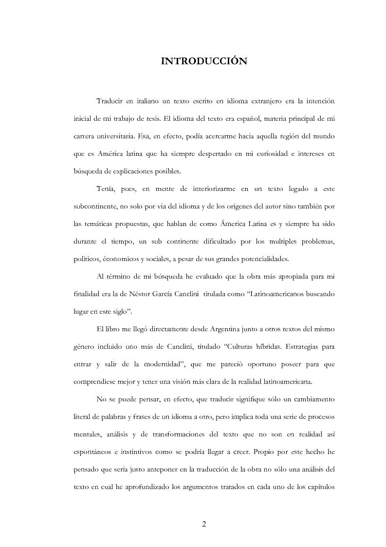 """Anteprima della tesi: Anàlisis, comentario y traducciòn de """"Latinoamericanos buscando lugar en este siglo"""" de Néstor Garcìa Canclini, Pagina 1"""