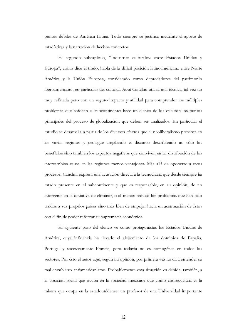 """Anteprima della tesi: Anàlisis, comentario y traducciòn de """"Latinoamericanos buscando lugar en este siglo"""" de Néstor Garcìa Canclini, Pagina 11"""