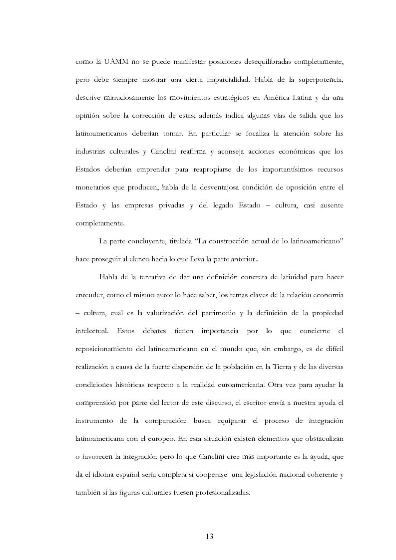 """Anteprima della tesi: Anàlisis, comentario y traducciòn de """"Latinoamericanos buscando lugar en este siglo"""" de Néstor Garcìa Canclini, Pagina 12"""