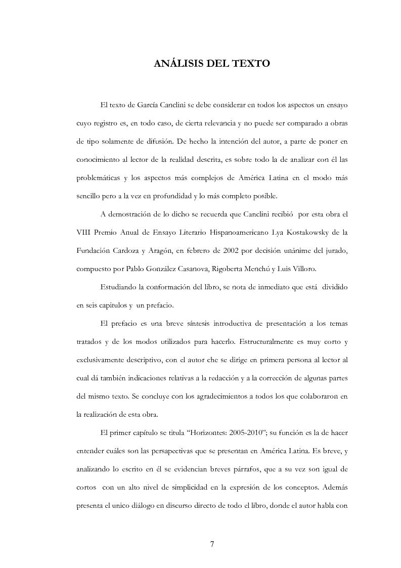 """Anteprima della tesi: Anàlisis, comentario y traducciòn de """"Latinoamericanos buscando lugar en este siglo"""" de Néstor Garcìa Canclini, Pagina 6"""