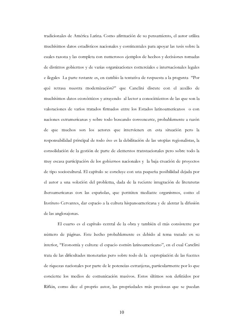 """Anteprima della tesi: Anàlisis, comentario y traducciòn de """"Latinoamericanos buscando lugar en este siglo"""" de Néstor Garcìa Canclini, Pagina 9"""