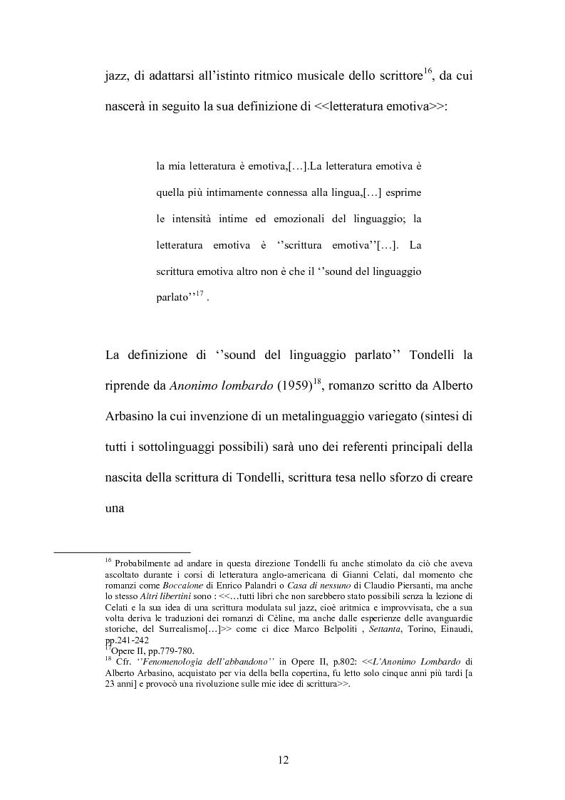 Anteprima della tesi: Un testo contro la solitudine. Pier Vittorio Tondelli scrittore postmoderno., Pagina 12