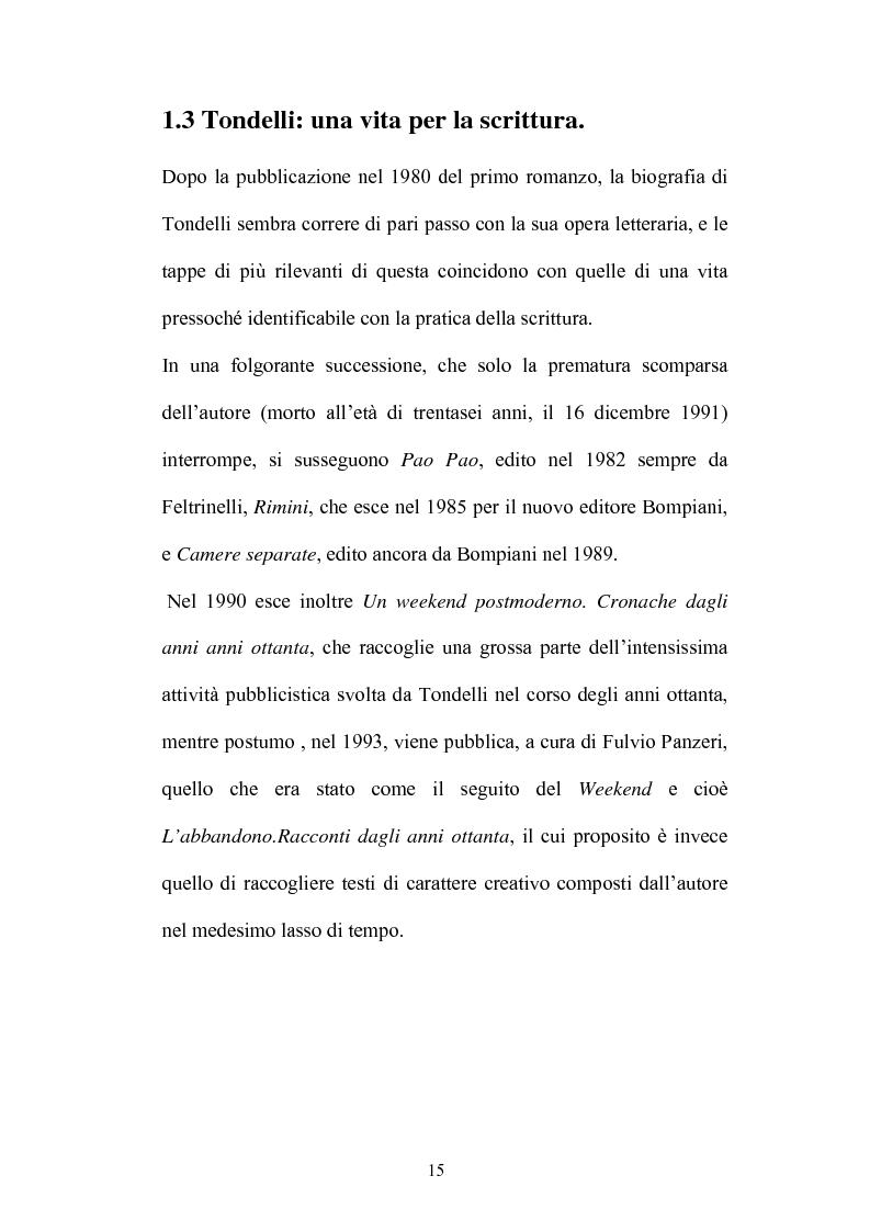 Anteprima della tesi: Un testo contro la solitudine. Pier Vittorio Tondelli scrittore postmoderno., Pagina 15