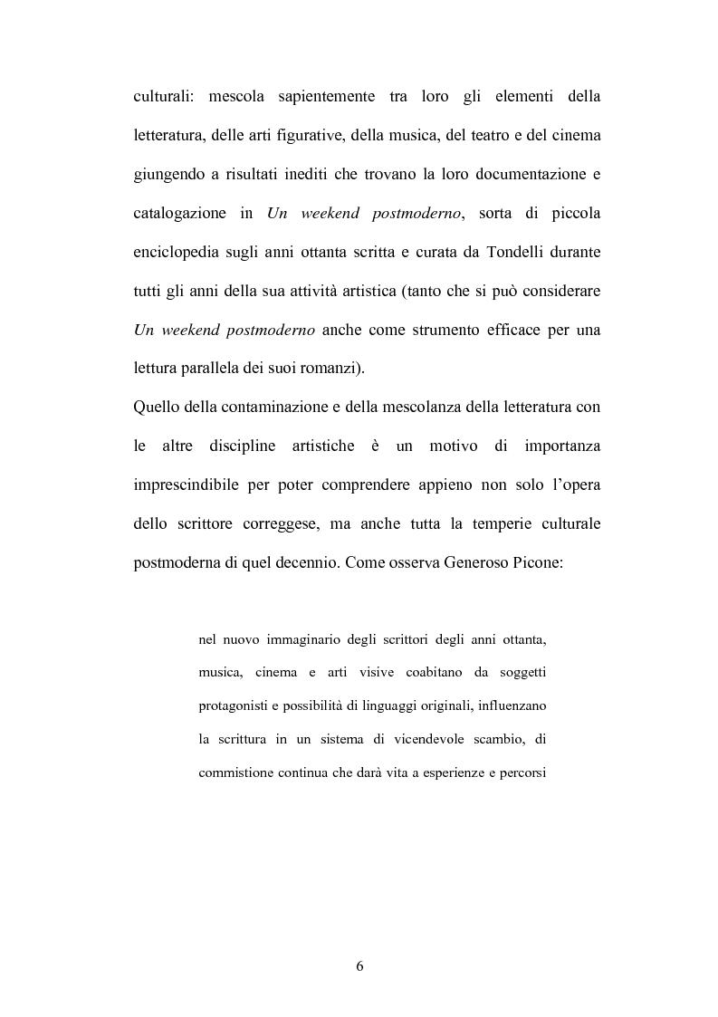 Anteprima della tesi: Un testo contro la solitudine. Pier Vittorio Tondelli scrittore postmoderno., Pagina 6