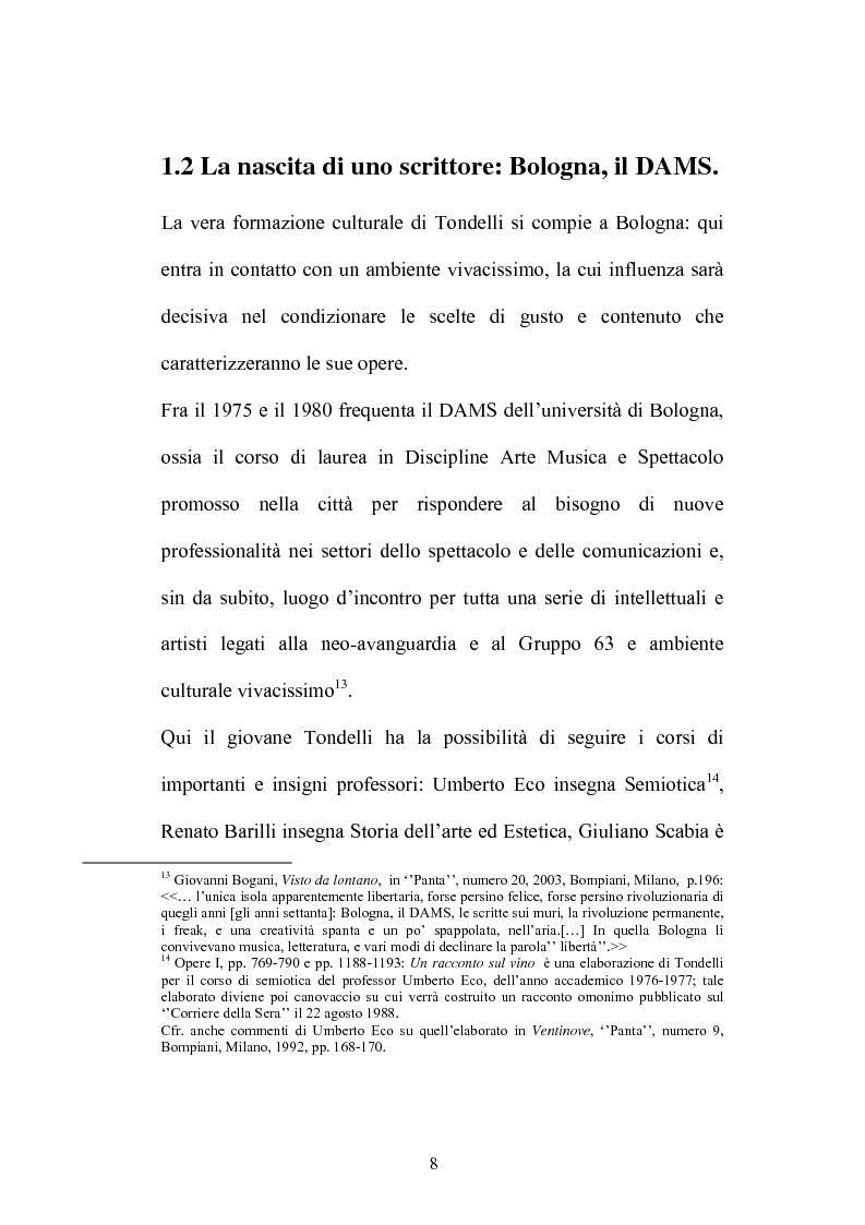 Anteprima della tesi: Un testo contro la solitudine. Pier Vittorio Tondelli scrittore postmoderno., Pagina 8
