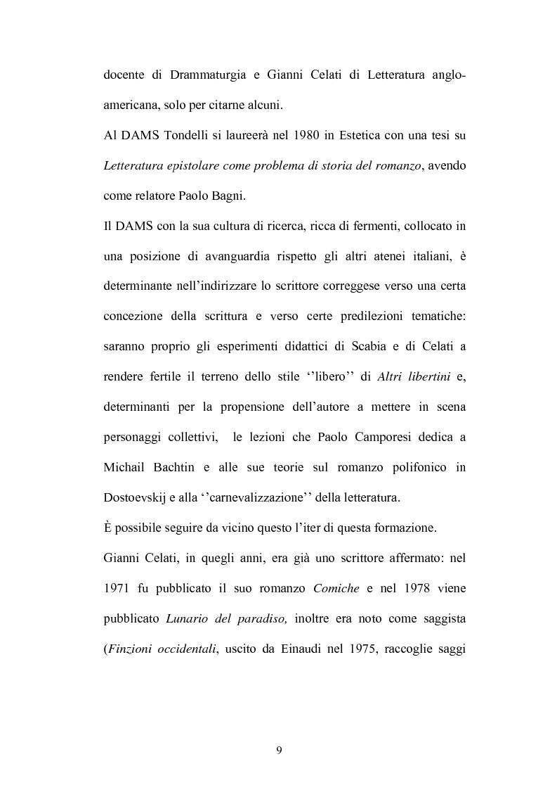 Anteprima della tesi: Un testo contro la solitudine. Pier Vittorio Tondelli scrittore postmoderno., Pagina 9