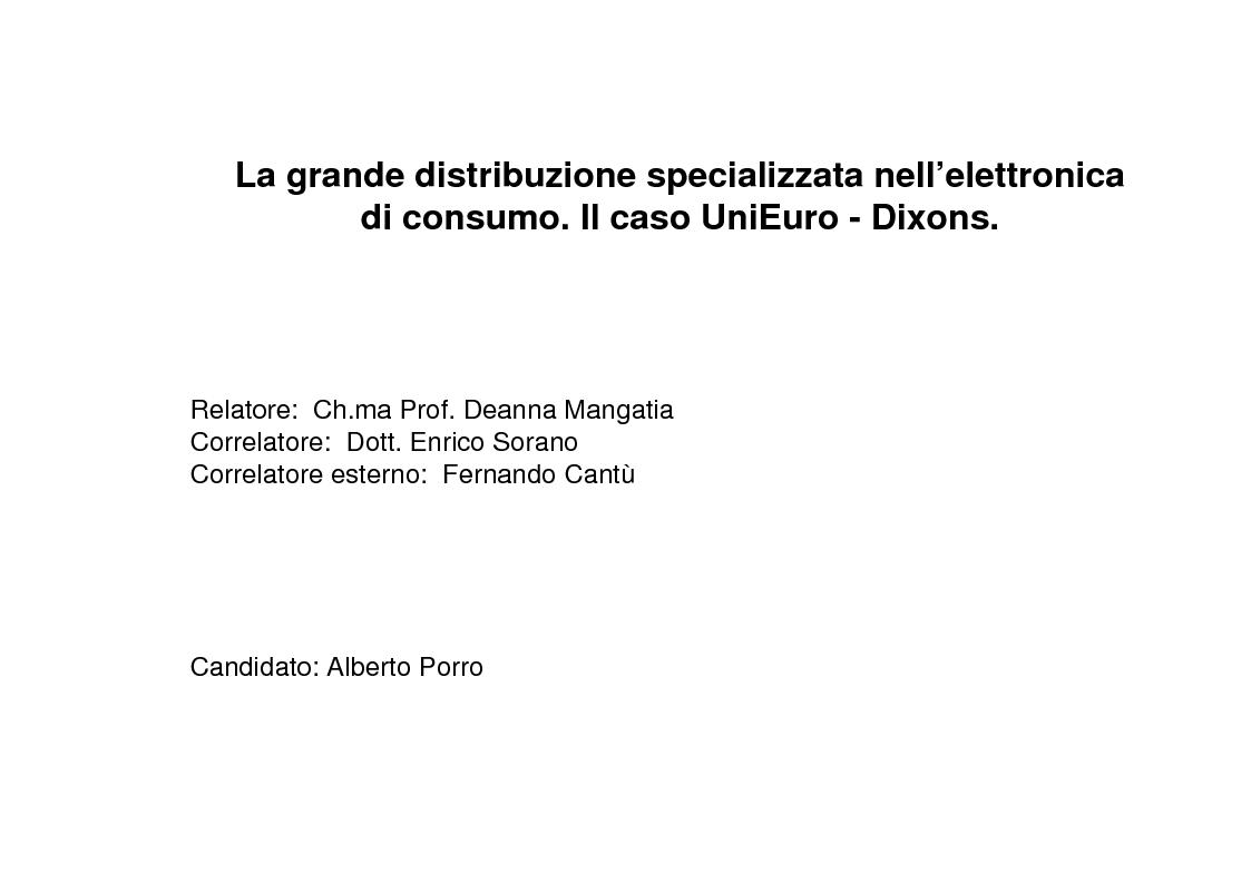 Anteprima della tesi: La grande distribuzione specializzata nell'elettronica di consumo. Il caso UniEuro - Dixons., Pagina 1