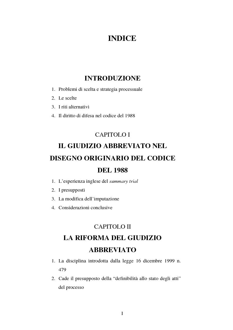 Indice della tesi: Strategie difensive e udienza preliminare, Pagina 1