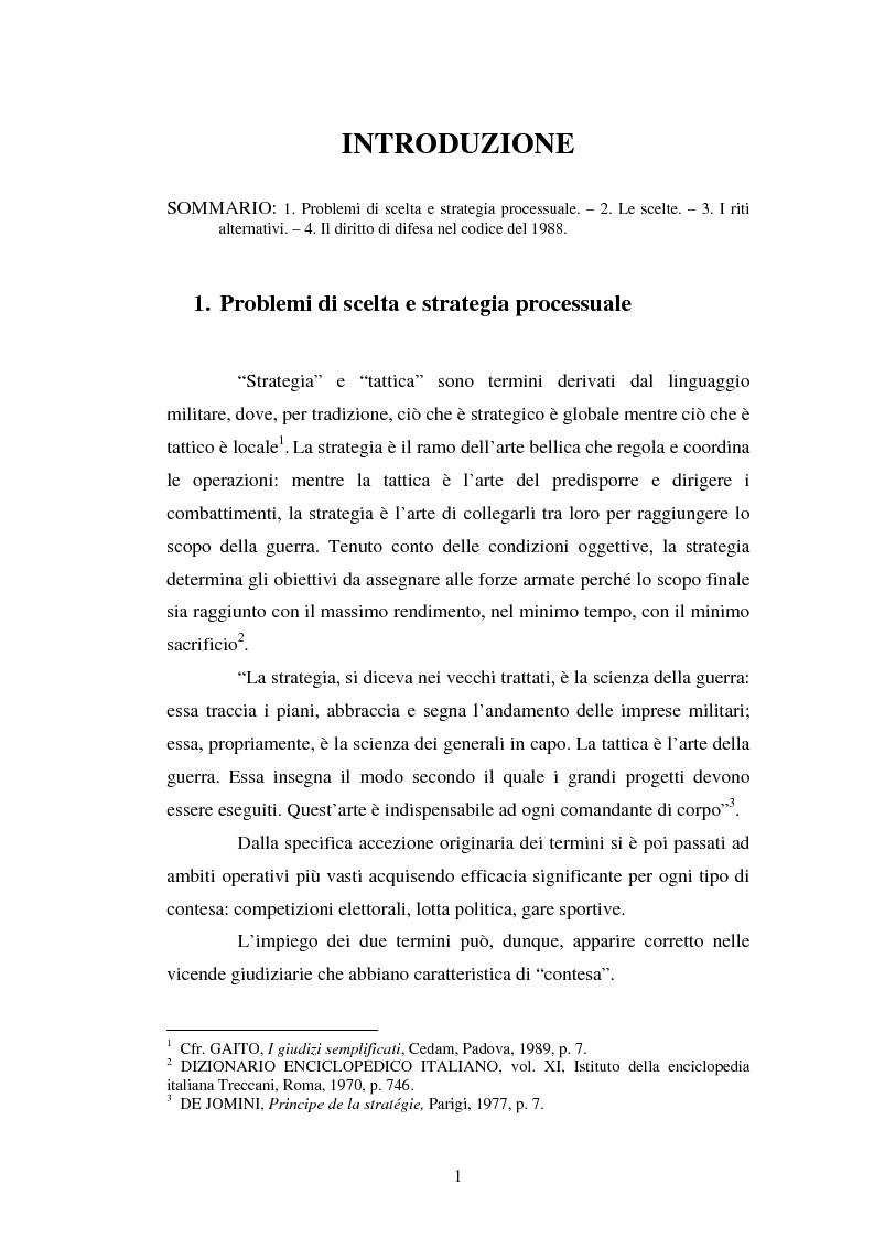 Anteprima della tesi: Strategie difensive e udienza preliminare, Pagina 1