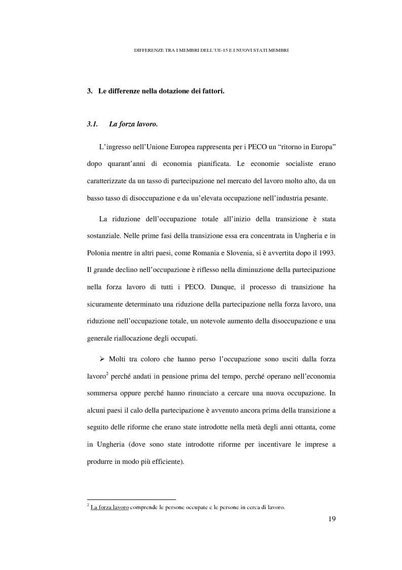 Anteprima della tesi: Le conseguenze sul mercato del lavoro dell'allargamento ad Est dell'Unione Europea, Pagina 13