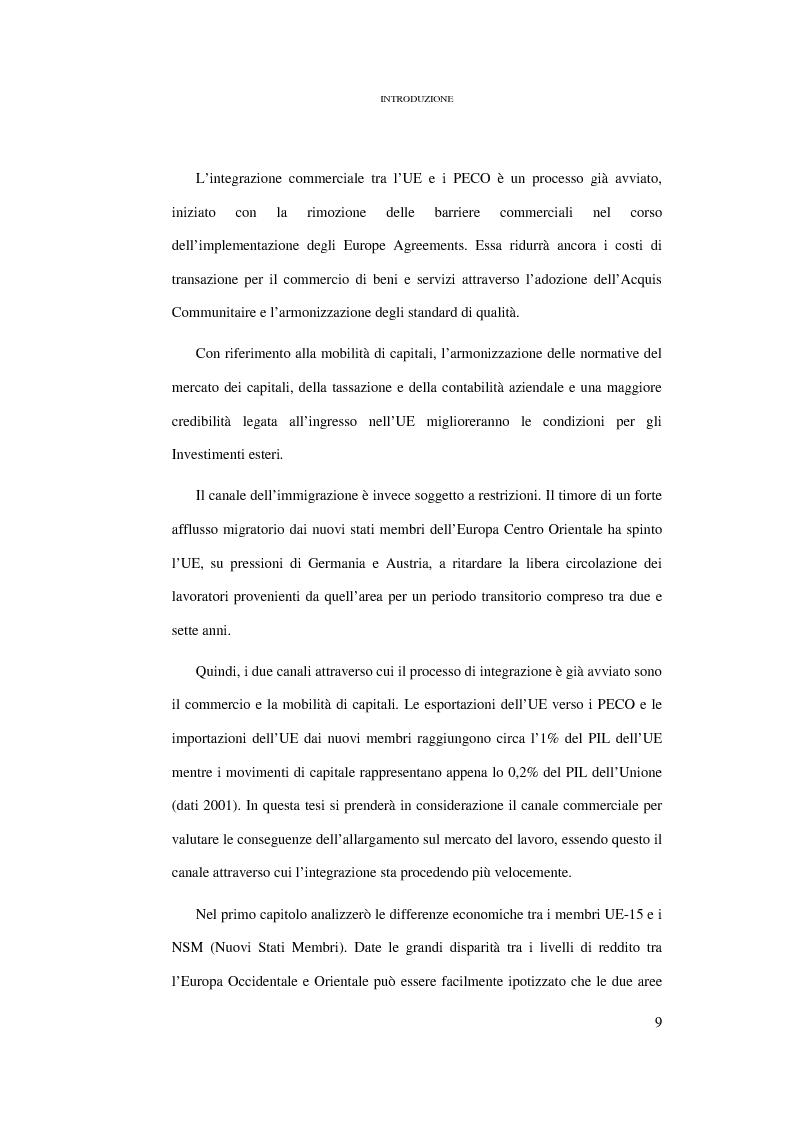 Anteprima della tesi: Le conseguenze sul mercato del lavoro dell'allargamento ad Est dell'Unione Europea, Pagina 3