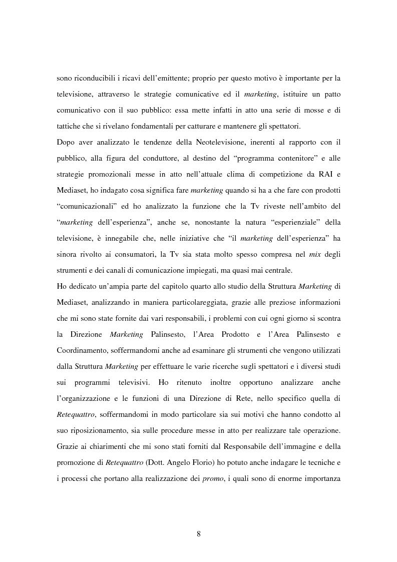 Anteprima della tesi: Costruzione dei palinsesti e marketing televisivo, Pagina 8