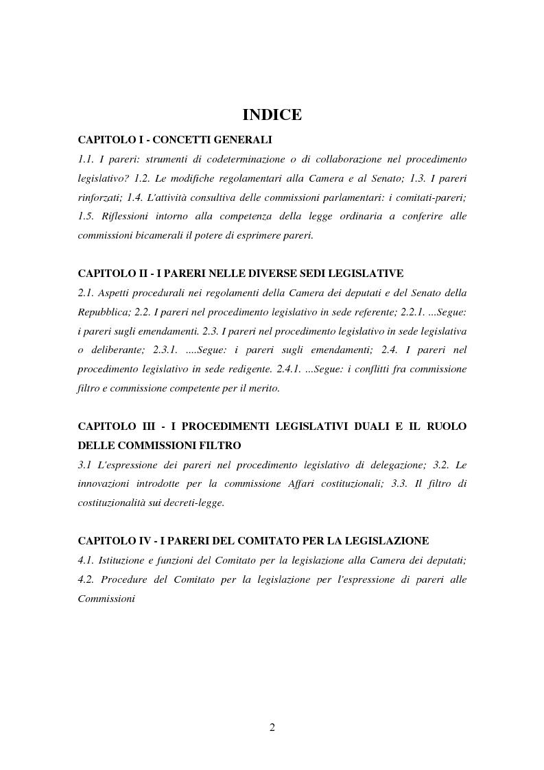 Indice della tesi: L'attività consultiva delle commissioni nel procedimento legislativo, Pagina 1