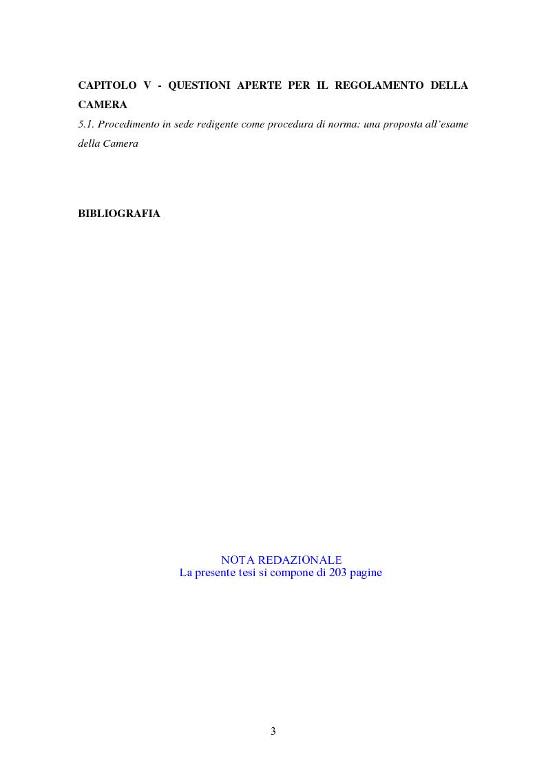 Indice della tesi: L'attività consultiva delle commissioni nel procedimento legislativo, Pagina 2