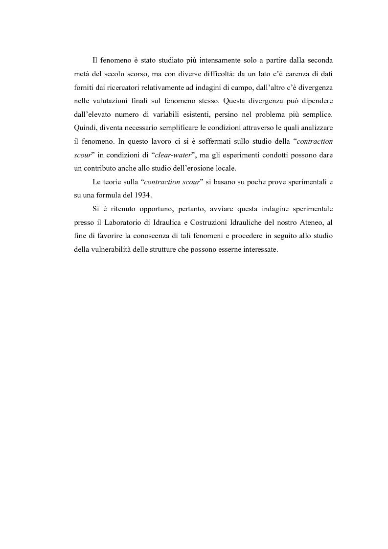 Anteprima della tesi: Indagine sperimentale sull'evoluzione morfologica di un alveo fluviale soggetto a restringimento, Pagina 3