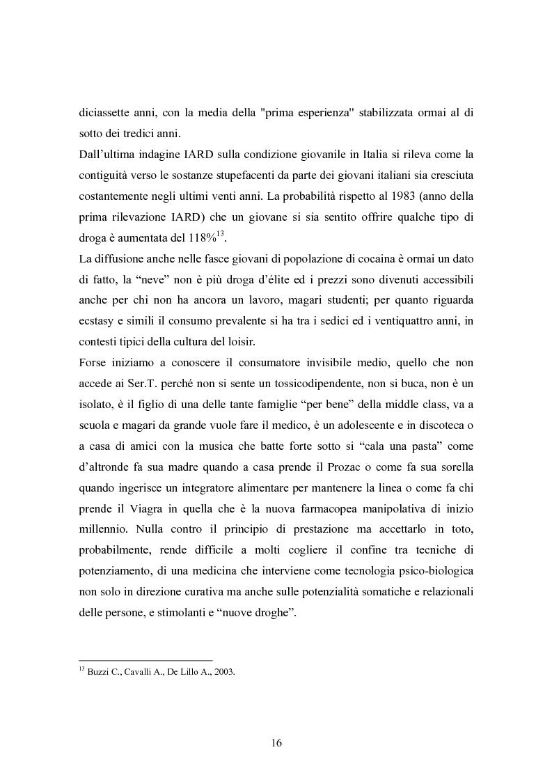 """Anteprima della tesi: La strada come """"setting variabile"""". Un progetto di intervento con tossicodipendenti attivi, Pagina 14"""