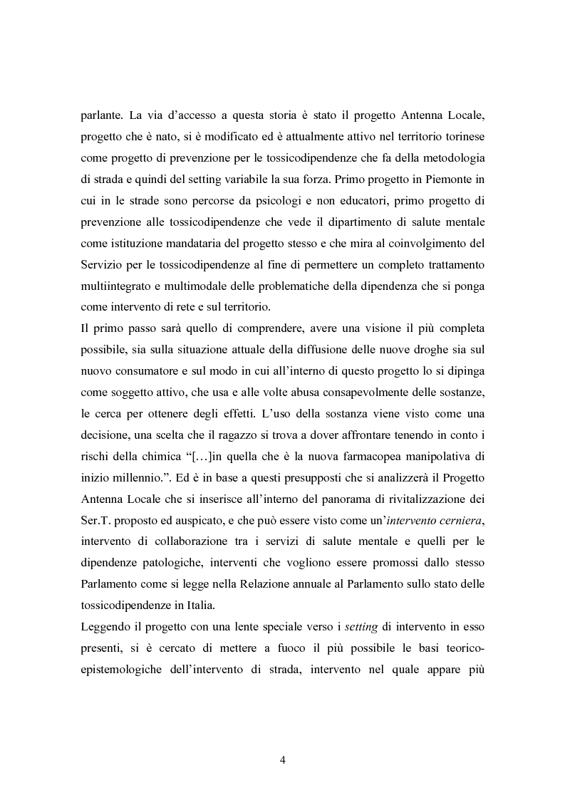"""Anteprima della tesi: La strada come """"setting variabile"""". Un progetto di intervento con tossicodipendenti attivi, Pagina 2"""