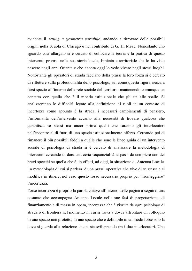 """Anteprima della tesi: La strada come """"setting variabile"""". Un progetto di intervento con tossicodipendenti attivi, Pagina 3"""