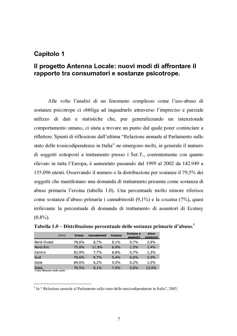 """Anteprima della tesi: La strada come """"setting variabile"""". Un progetto di intervento con tossicodipendenti attivi, Pagina 5"""