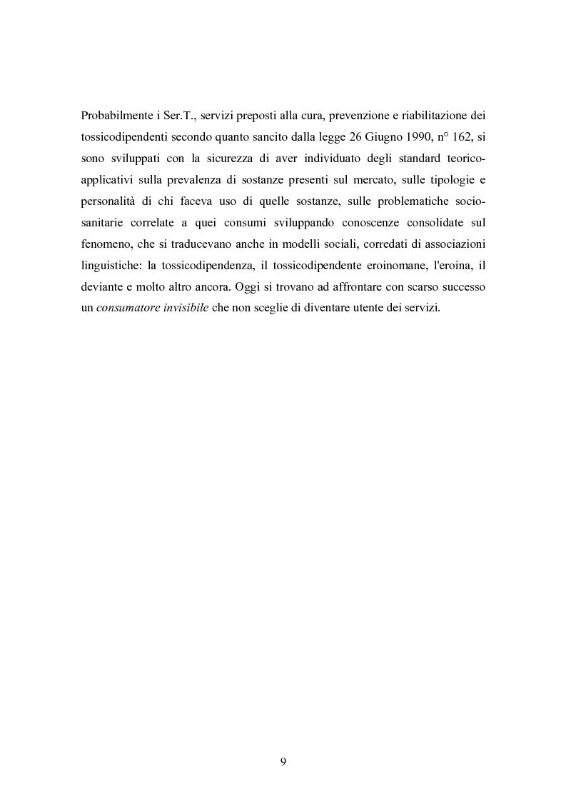 """Anteprima della tesi: La strada come """"setting variabile"""". Un progetto di intervento con tossicodipendenti attivi, Pagina 7"""