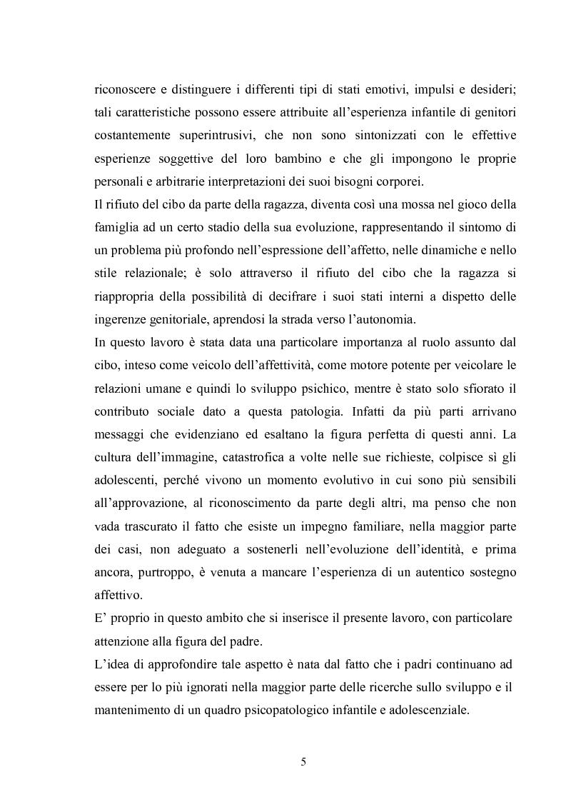 Anteprima della tesi: Il ruolo del padre nell'insorgenza del disturbo alimentare: anoressia e bulimia, Pagina 2