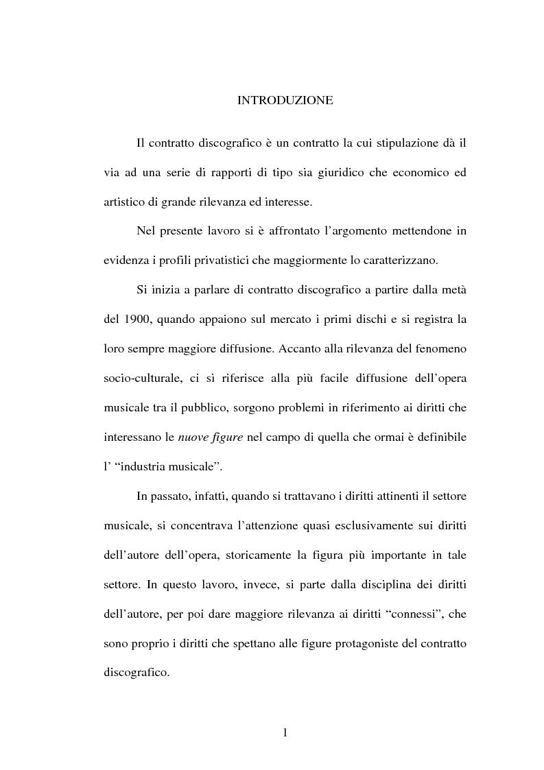 Anteprima della tesi: Il contratto discografico. Profili privatistici, Pagina 1