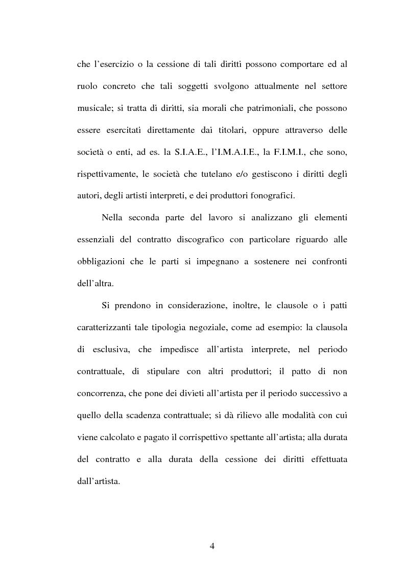 Anteprima della tesi: Il contratto discografico. Profili privatistici, Pagina 4